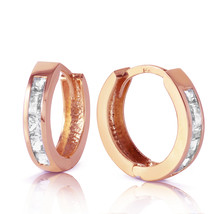 1.2 Carat 14K Solid Rose Gold Hoop Huggie Earrings White Topaz - $229.15