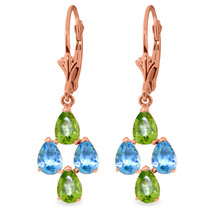 4.5 CTW 14K Solid Rose Gold Blue Topaz Peridot Spring Earrings - $250.22