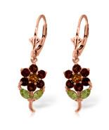 2.12 Carat 14K Solid Rose Gold Flowers Earrings Garnet, Citrine Peridot - $258.17