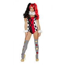 Roma Queen Of Jokesters Joker Villain Red Black & White Bodysuit Costume... - $57.99