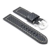 DASSARI Azure Check Embossed Leather Watch Band for panerai in Black siz... - $24.99