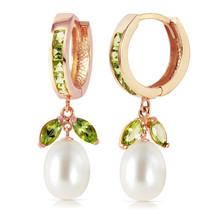 14K Solid Rose Gold Hoop Earrings with Peridots & pearls - $343.18