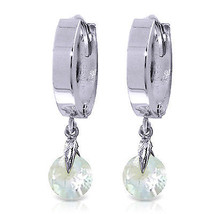 1.3 Carat 14K Solid White Gold Hoop Earrings Natural Aquamarine - $176.81