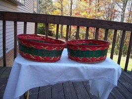 Xmas Bright Red and Green with Gold weaved Thro... - $19.49