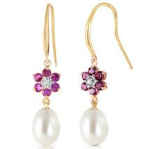 9.01 CTW 14K Solid Gold Fish Hook Earrings Diamond, Amethyst pearl - $262.02