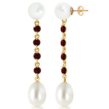 11 Carat 14K Solid Gold pearly View Garnet pearl Earrings - $169.72