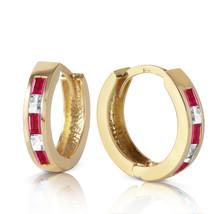 1.26 Carat 14K Solid Gold Hoop Earrings Natural Ruby White Topaz - $229.58