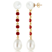 11 Carat 14K Solid Gold pearly View Ruby pearl Earrings - $185.93