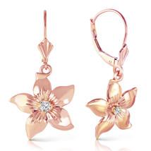 14K Solid Rose Gold Leverback Flowers Earrings withDiamond - $466.80