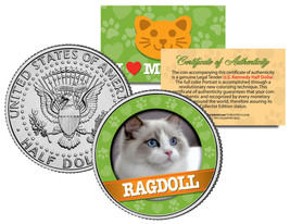 RAGDOLL Cat JFK Kennedy Half Dollar US Colorized Coin - $8.95