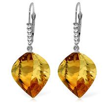23.65 CTW 14K Solid White Gold Leverback Earrings Diamond Briolette Citrine - $352.48