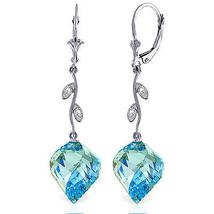 27.82 Carat 14K Solid White Gold Diamond Spiral Blue Topaz Earrings - $550.42