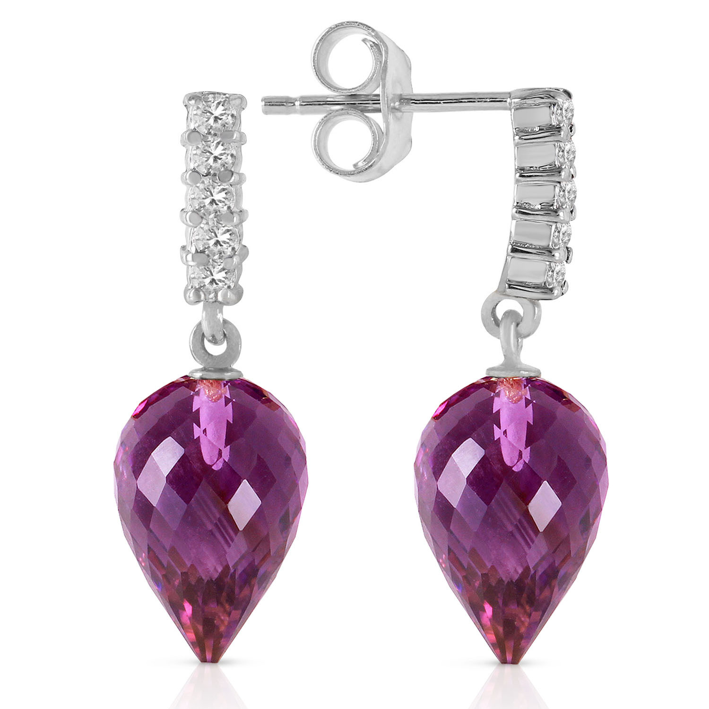 19.15 CTW 14K Solid White Gold Wondrous Delight Amethyst Diamond Earrings - $284.82