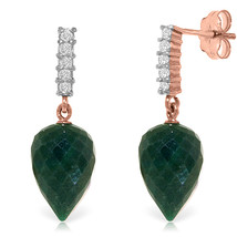 25.95 Carat 14K Solid Rose Gold Earrings Diamond Briolette Emerald - $308.89