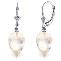 24.5 Carat 14K Solid White Gold Pointy Briolette Drop White Topaz Earrings - $288.23