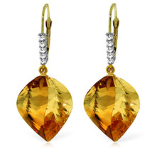 23.65 CTW 14K Solid Gold Leverback Earrings Diamond Briolette Citrine - $348.20