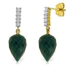 25.95 CTW 14K Solid Gold Earrings Diamond Briolette Emerald - $302.05