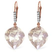25.75 Carat 14K Solid Rose Gold Leverback Earrings Diamond Briolette White Topaz - $369.34
