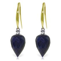 25.9 CTW 14K Solid Gold Duchess Sapphire Diamond Earrings - $254.30