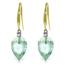 22.6 Carat 14K Solid Gold Fish Hook Earrings Diamond Blue Topaz - $340.97