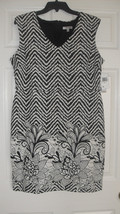 Sandra Darren New Womens Black/Ivory V-Neck Patterned Dress  12     $79 - $19.98