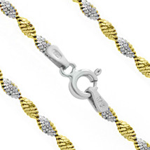 1.7mm Women's Stylish 14K YG 925 Silver Twist-Rope Italy Chain Necklace 4 Sizes - $22.06+