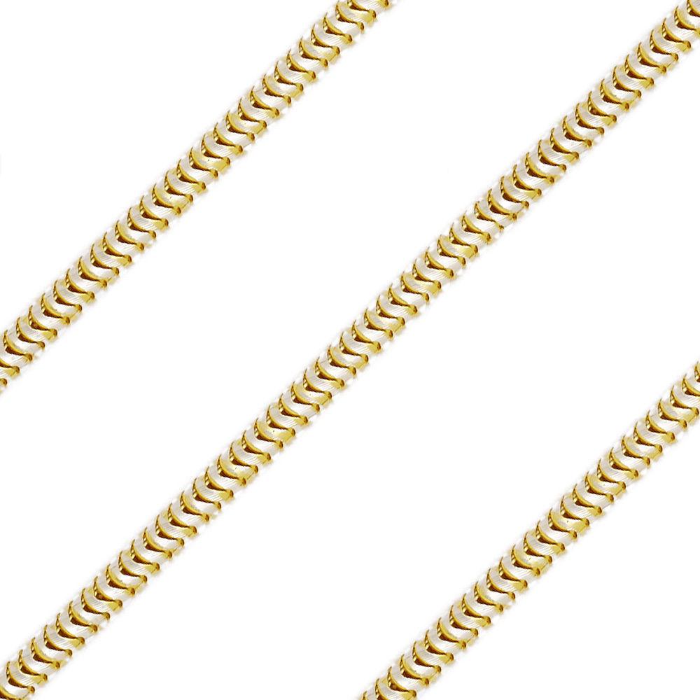 1.9mm Men/Women Stylish 14K YGP 925 Sterling Silver Snake Link Italian Chain