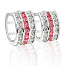 15mm 1.50 Ct Stylish 14 K Wg Covered Silver Pink Sapphire Huggie Earrings 3 Row - $48.50