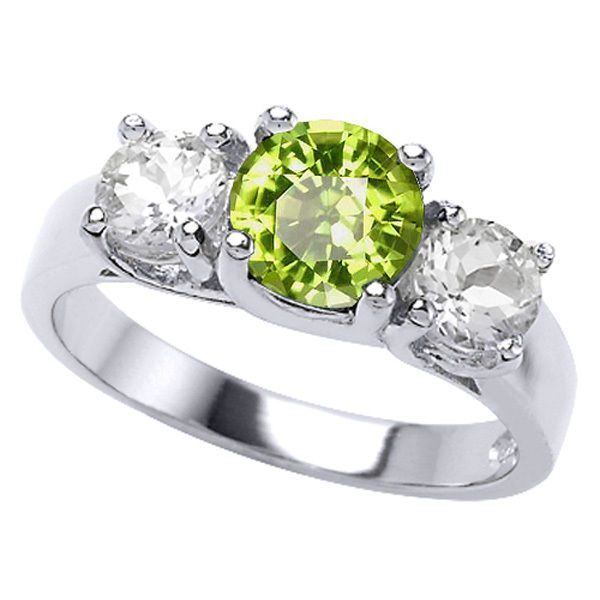 2 26ct s unique 14k white gold 3 peridot