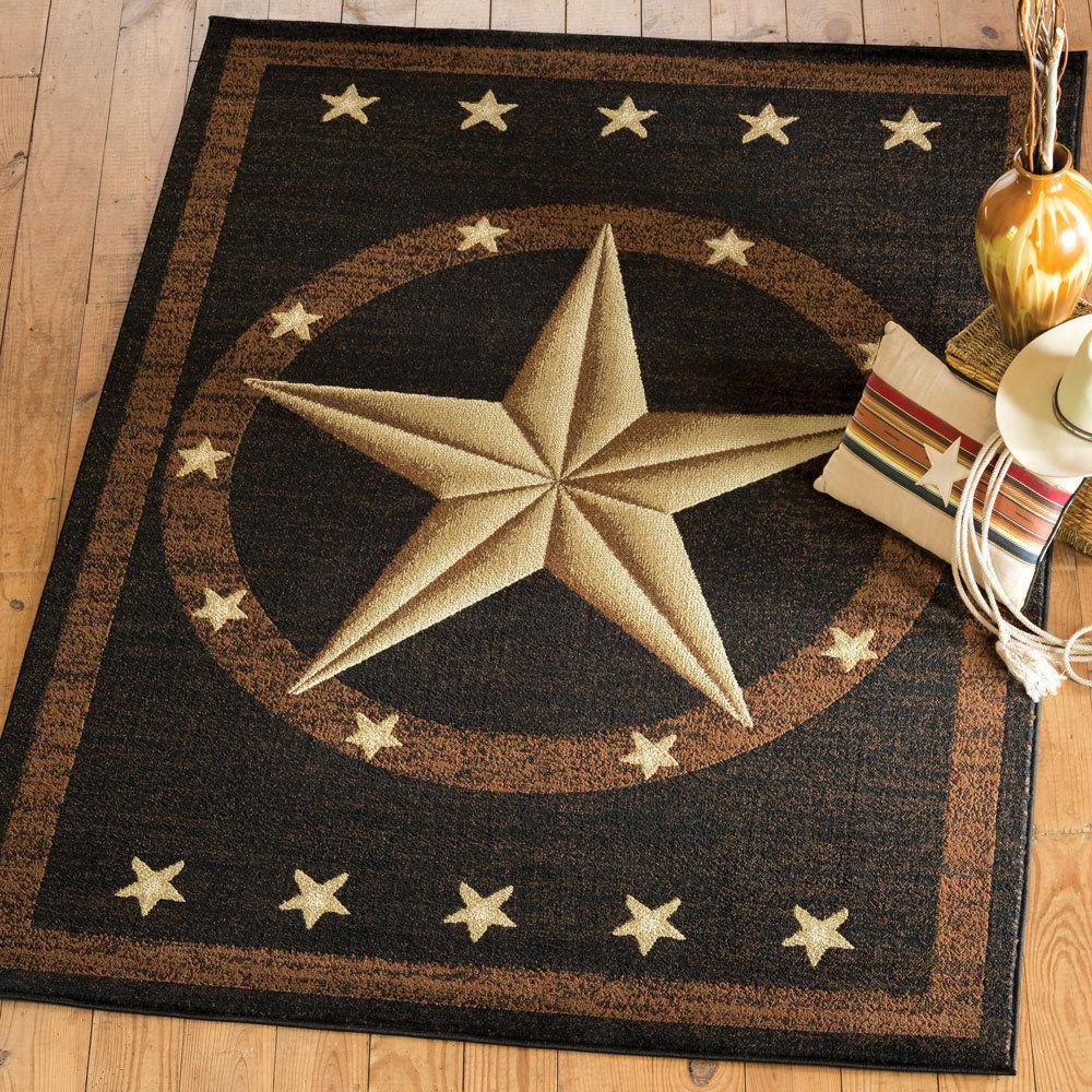 Texas Star Rug Western Rustic Cowboy Black Brown Area Rug