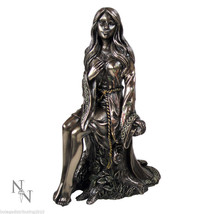 Maiden Statue Young Lady Figurine Wicca Pican Salem Witch Bronze Like 6 ... - $32.66
