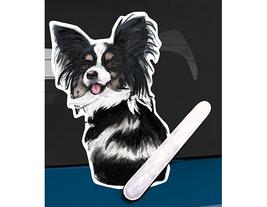 Papillon dog rear window wiper wagging tail sticker - $12.99