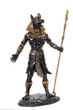 Modern Anubis Egyptian Statue Black Gold Figurine God Of The Dead Funeral - $35.99