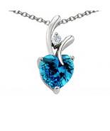 7MM OR 9MM WOMENS UNIQUE HEART SHAPE BLUE TOPAZ PENDANT SOLID 14K GOLD S... - $25.82+