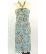 ANN TAYLOR Size 4 Petite Aqua & Brown Silk Halter Dress - $22.99
