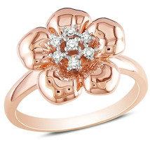 Ladies Stylish Flower White Sapphire 925 Silver & 14K Rose Gold Ring Size 8 - £49.61 GBP