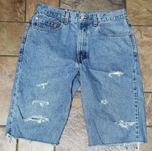 Men's Levi's Relxed Fit Straight Leg Cut Off Jean Shorts Size 34 - $19.79