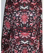 Sample Cut Crimson Red and Black Asian Print Lycra Stretch ITY Fabric 1 ... - $40.00