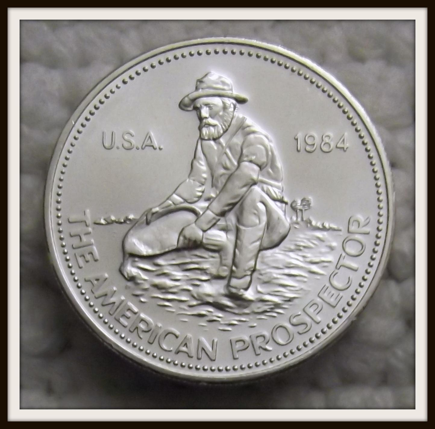 "1984 ""American Prospector"" Englehard Silver Round 1 Oz. .999 Fine Silver - $44.99"