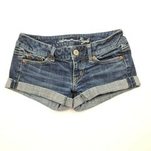American Eagle Womens Blue Jean Stretch Short Shorts Size 00  - $9.74