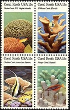 1980 15c Coral Reefs, Florida, Hawaii Block of ... - $1.49