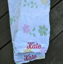 Pottery Barn Floral Pillowcase Personalized KATE Pink Script Embroidery Monogram - $18.05