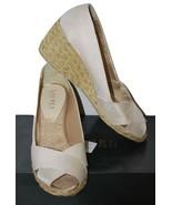 Ralph Lauren Cecilia Champagne Stripe Peep Toe ... - $24.95