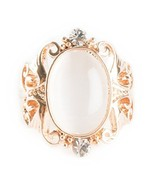 Rose Gold Plated Oval Shaped Opalite With Swarovski Crystal And Filigree... - $15.68