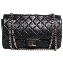 Authentic Chanel Black Reissue Double 227 Classic 2.55 Flap Bag SHW