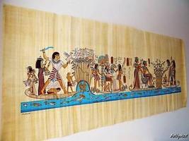 """XXXL Huge Signed Handmade Papyrus Egyptian KING Tutankhamun Painting 71""""... - $108.90"""
