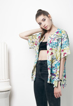90s flower printed oversized blouse - $22.02