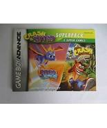 Game Boy Advance Crash Bandicoot & Spyro Istruzioni Libretto Manuale Solo - $8.88