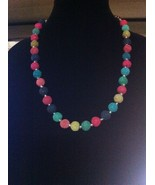 MULTICOLOR VOLCANIC LAVA NECKLACE/COLORFUL RAINBOW NECKLACE/FASHION ACCE... - $26.24