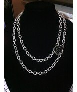 OOAK SILVER ROSE CHAIN NECKLACE/JEWELRY FASHION/MOTHERS DAY GIFT/ROSE NE... - $26.73